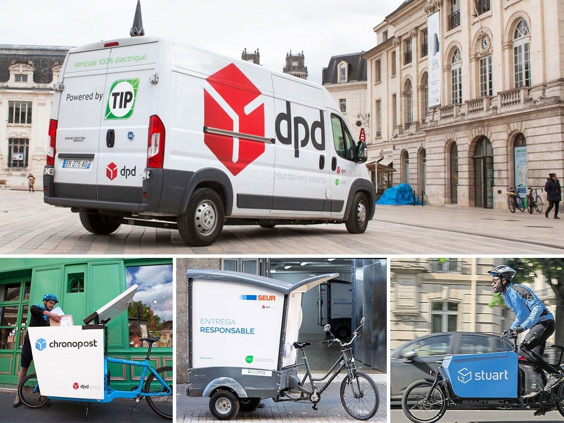 DPD van, Chronopost and Stuart cargo-bike, SEUR bike-trailer