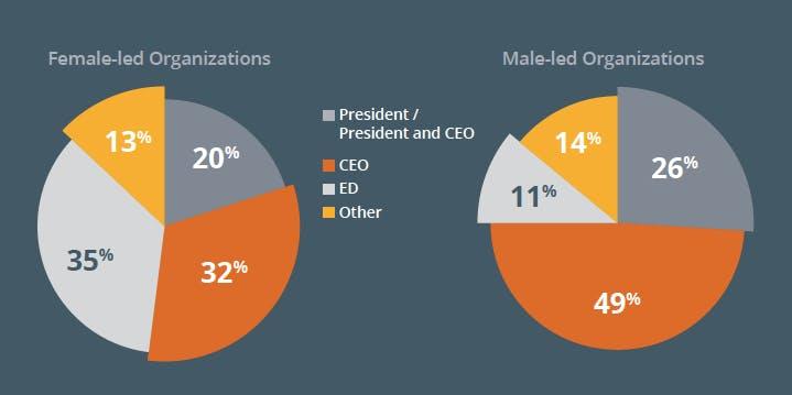 A chart comparing executive titles at female-led vs. male-led organizations.