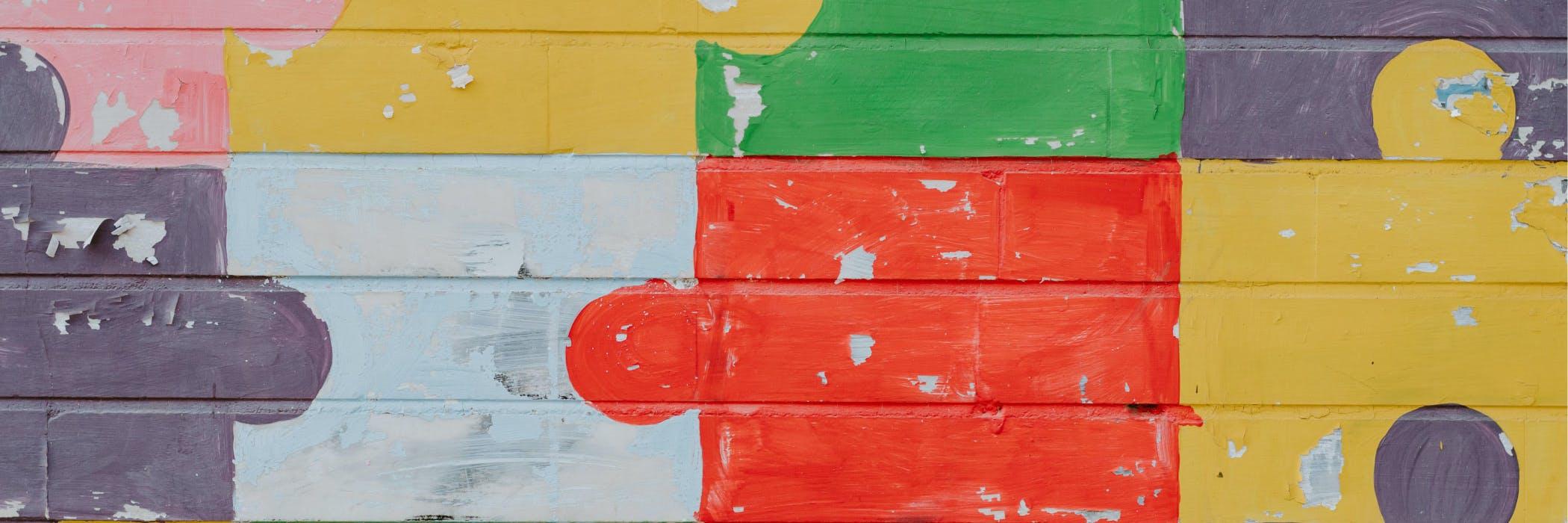 Colorful puzzle piece mural