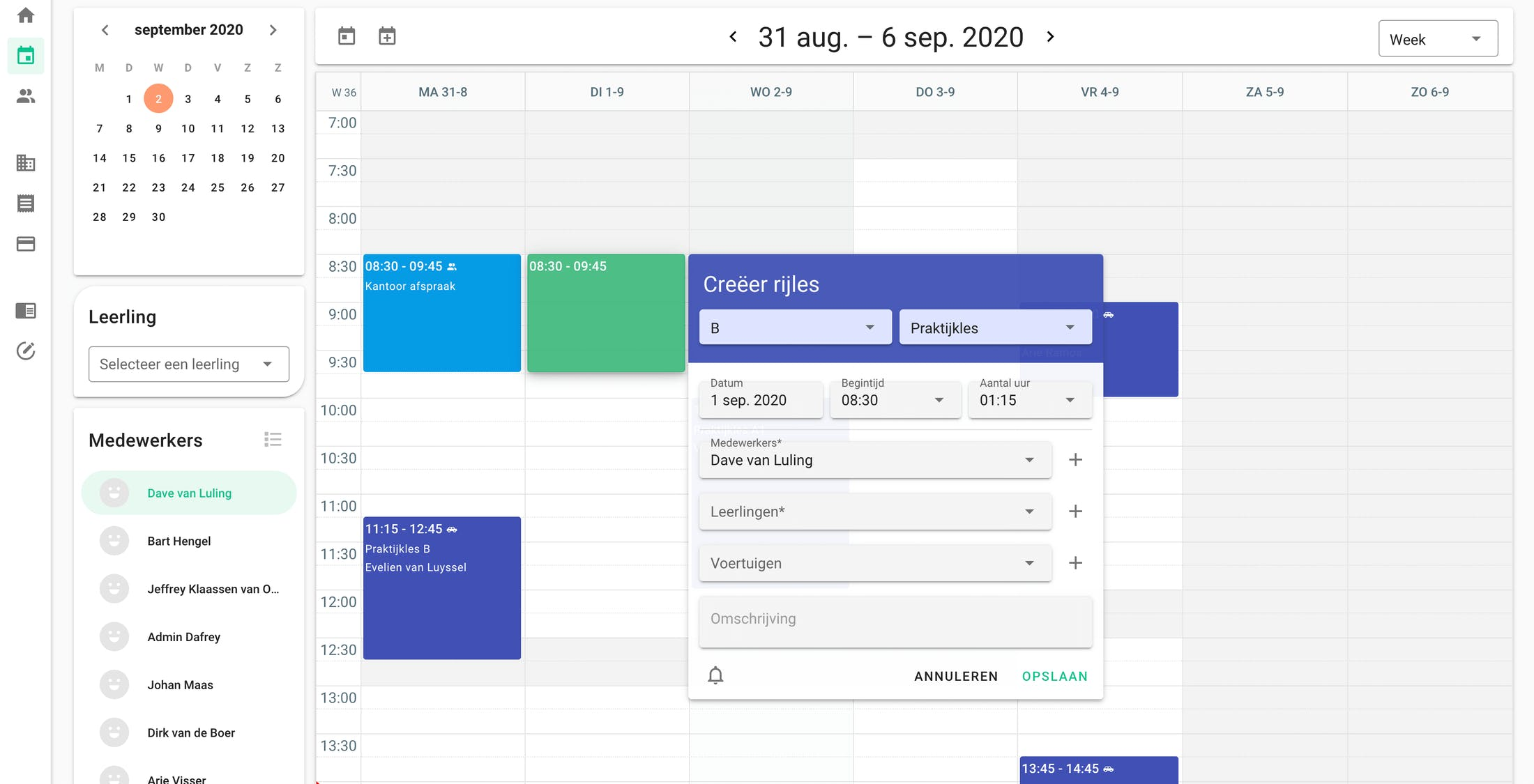 A modern and clear overview of the current agreements. Our calendar is interactive and clickable everywhere.