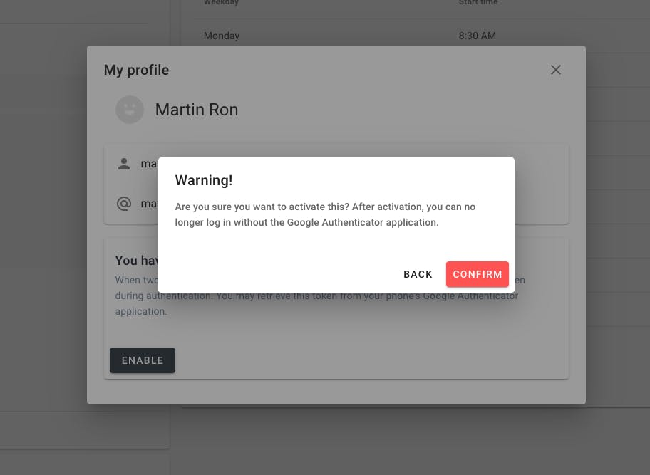 Warning for enabling two-factor authentication.