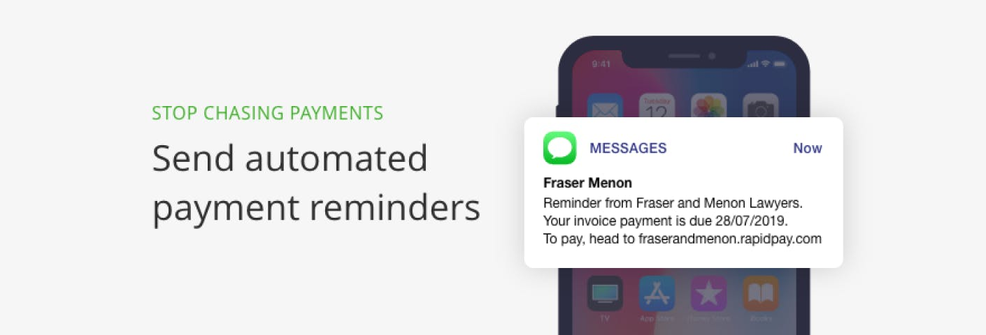 Screenshot ofSend automated payment reminders