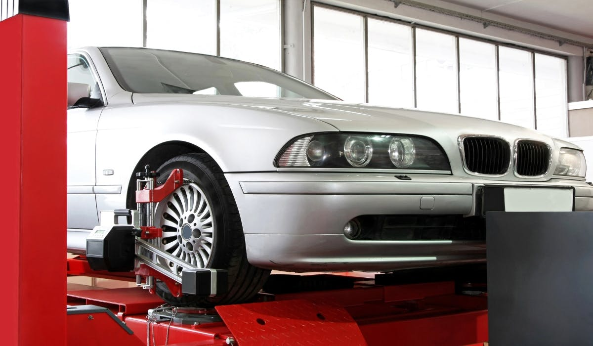 car in garage for a service