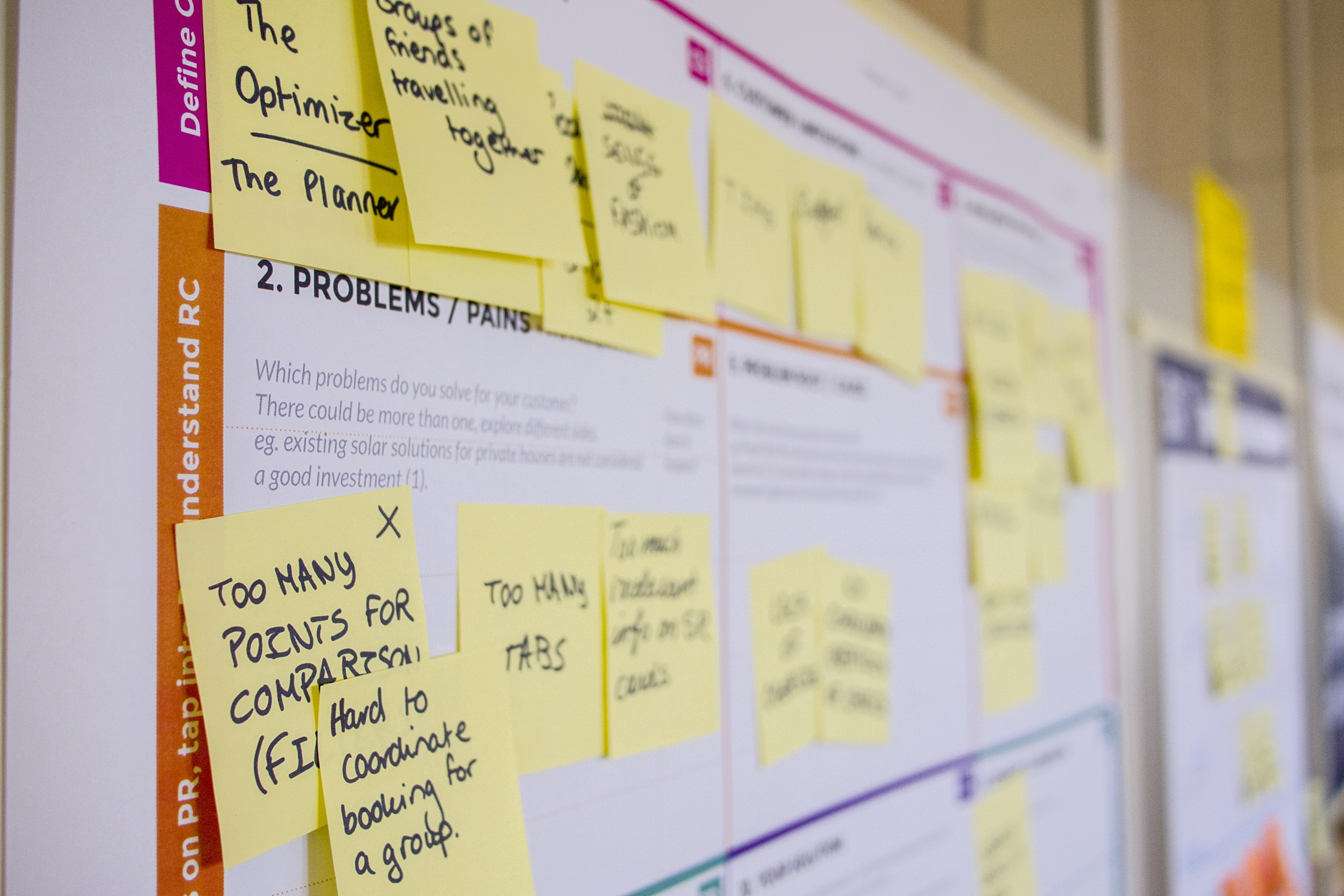 A project planning board with yellow post-it notes showing an agile project planning and estimation session.