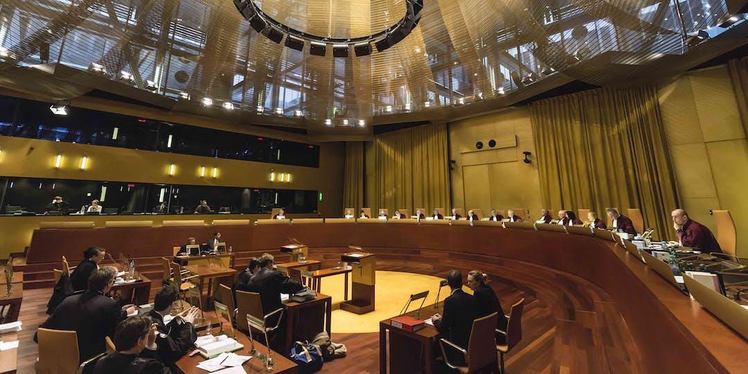 La Cour de justice de l'Union européenne siégeant en grande chambre (Crédit photo: Cour de justice de l'Union européenne).