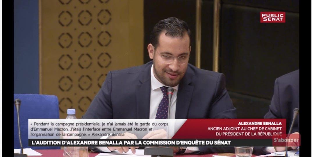 Alexandre Benalla lors de son audition devant les sénateurs (capture d'écran)
