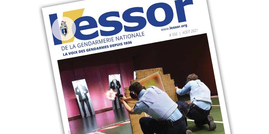 Extrait de la Une du n°556 du magazine L'Essor de la Gendarmerie, paru en août 2021.