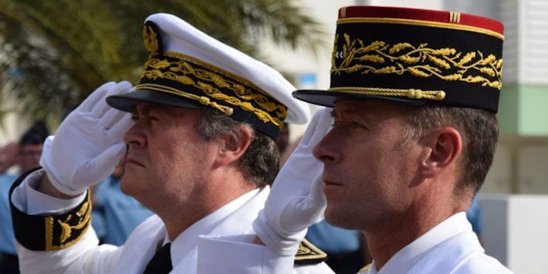 Le général Ducept lors de sa prise de commandement de la gendarmerie de la Réunion en 2017.