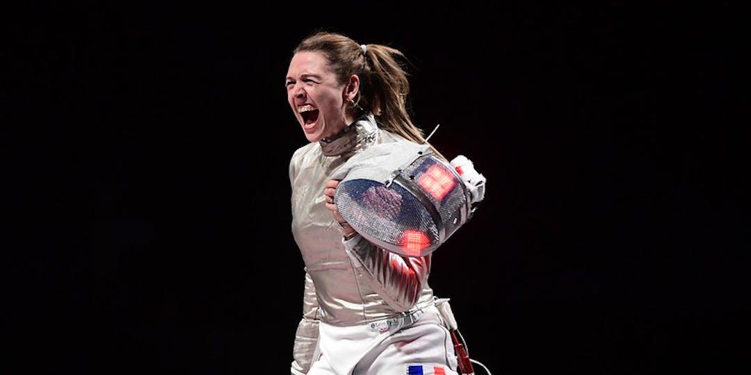 Manon Brunet est vice-championne olympique de sabre par équipes (crédit photo : CNOSF/KMSP)