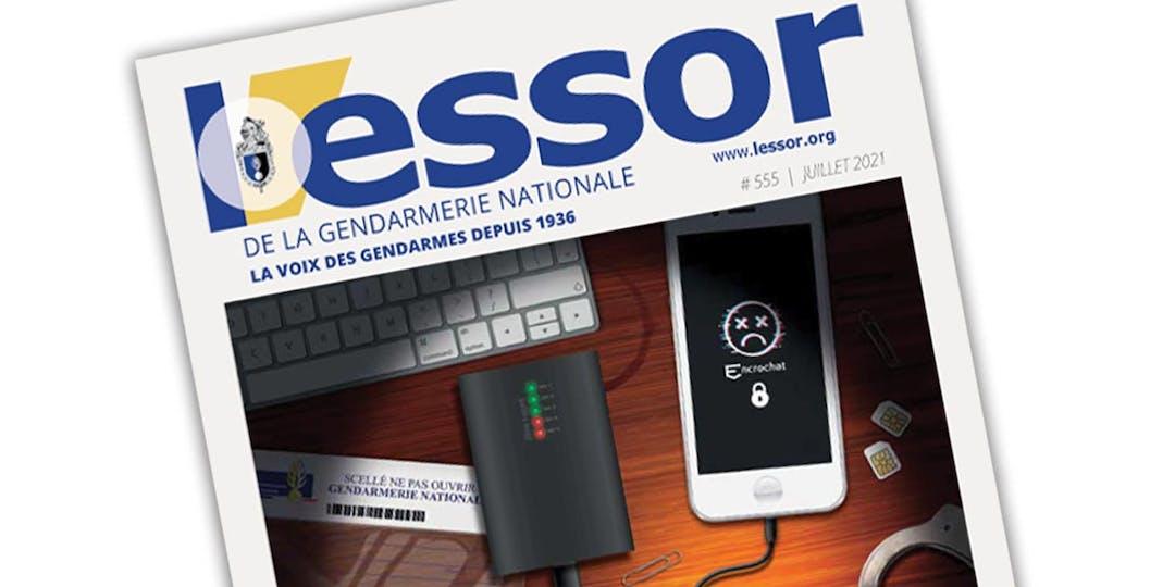 Extrait de la Une du n°555 du magazine L'Essor de la Gendarmerie, paru en juillet 2021.