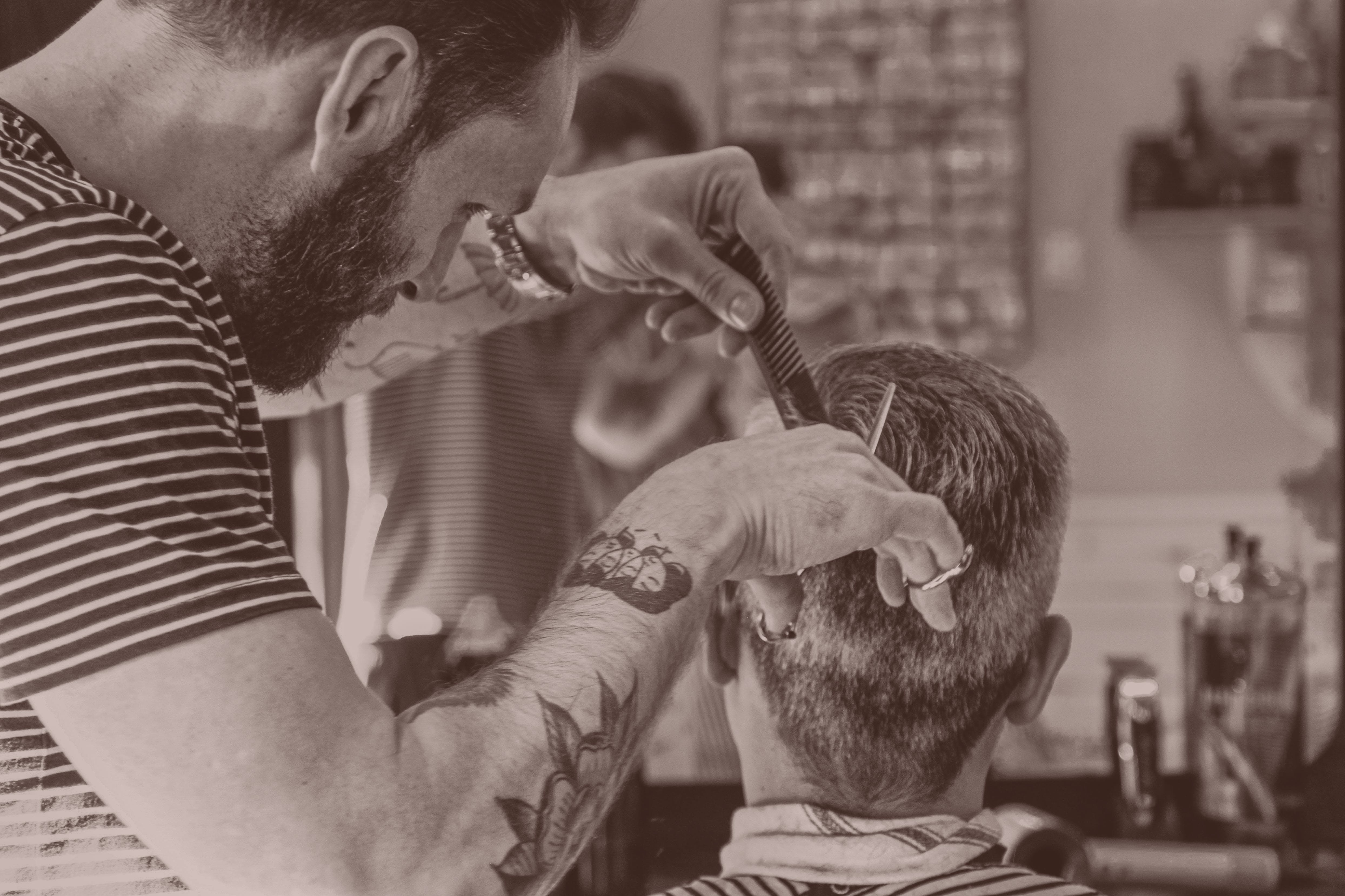 Hairdresser Matthew creating an easy to style cut.