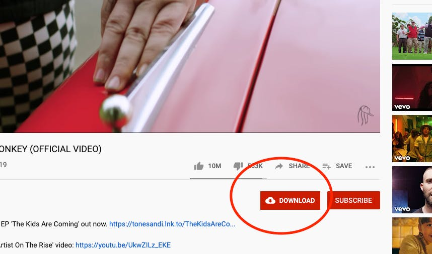 YT Download button