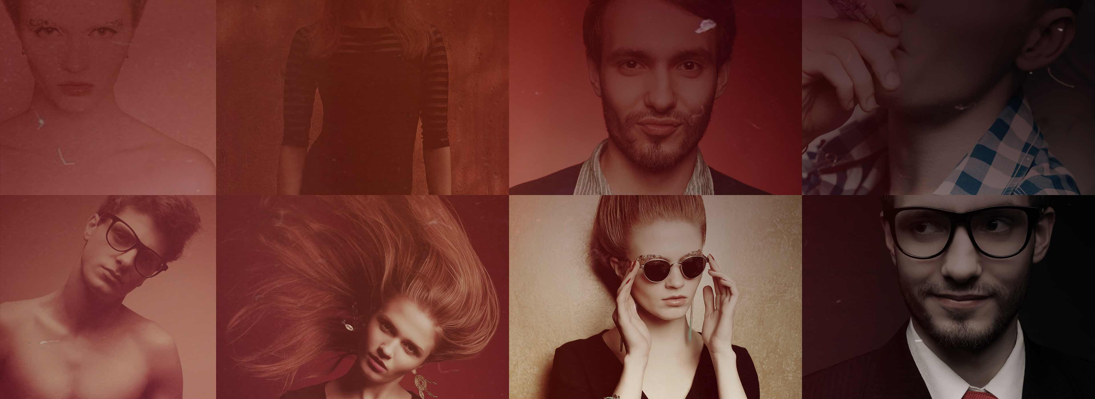 Collage of eight photos of hipster men and women