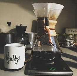 Chemex coffee brewer with some other equipment