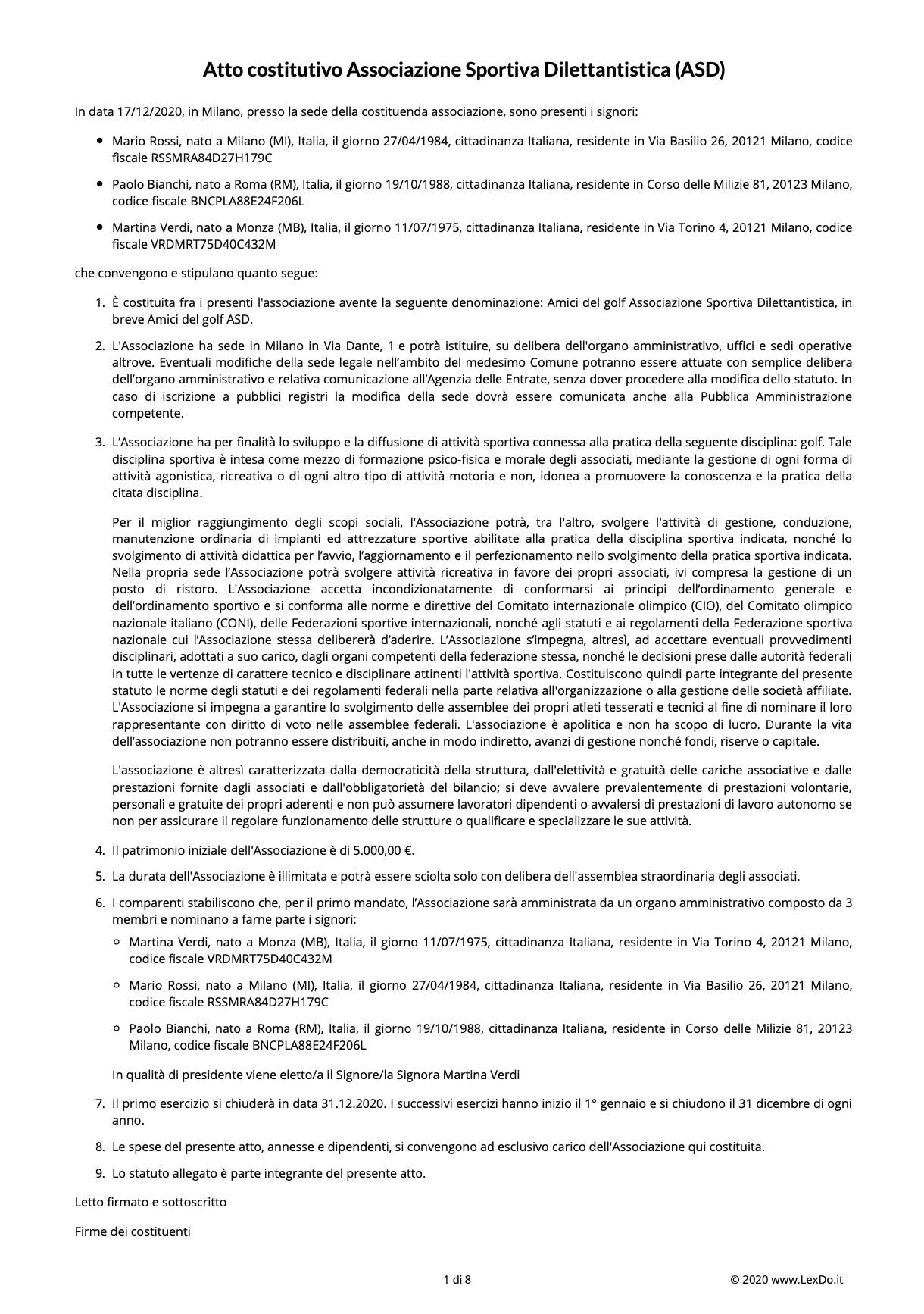 Statuto Associazione Sportiva (ASD) modello