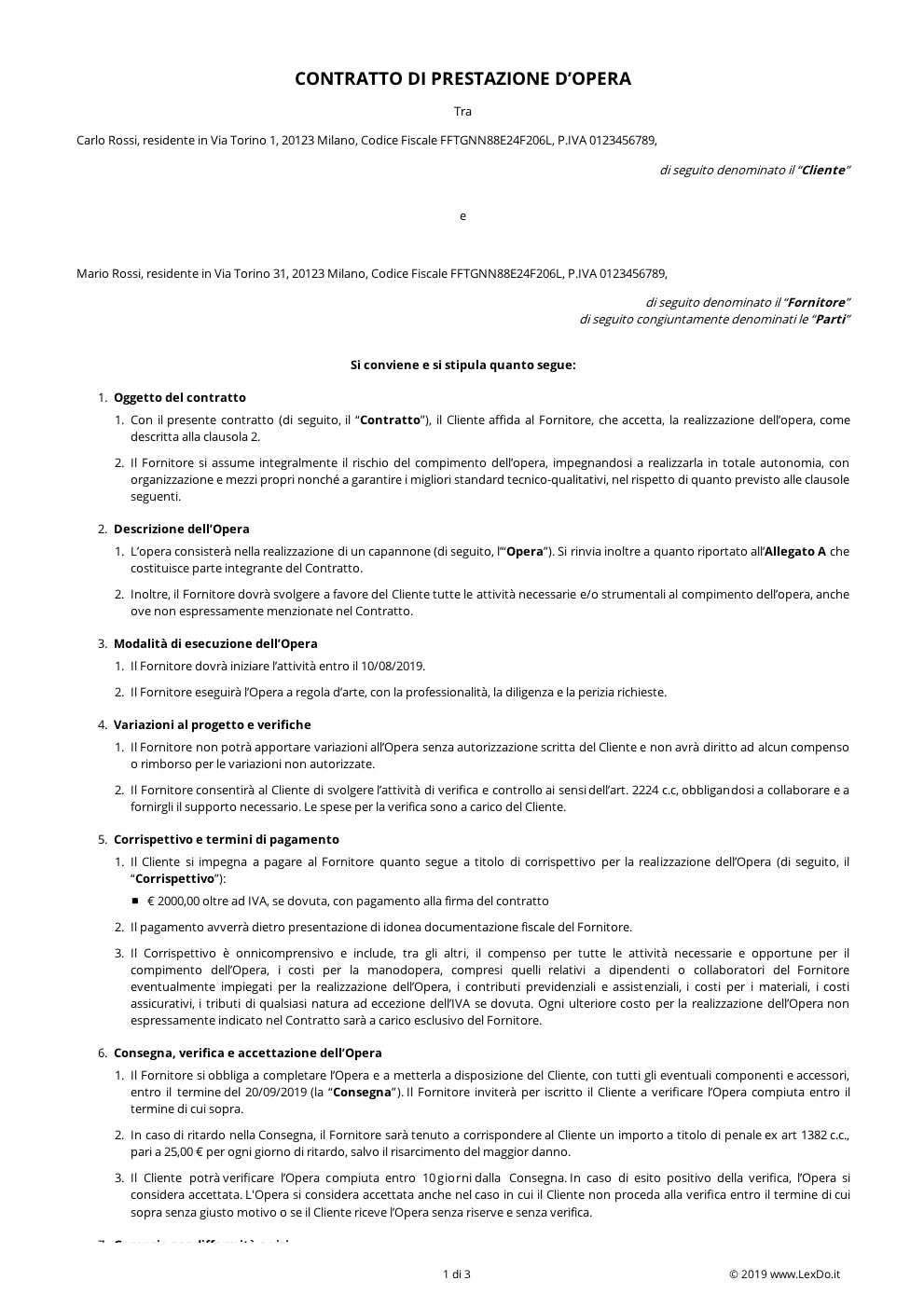Contratto di Appalto d'Opera modello