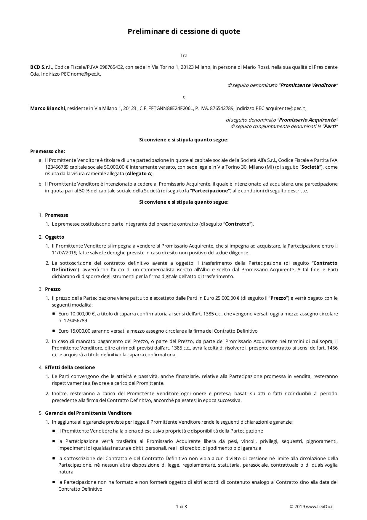 Contratto Preliminare di Cessione di Quote o Azioni modello