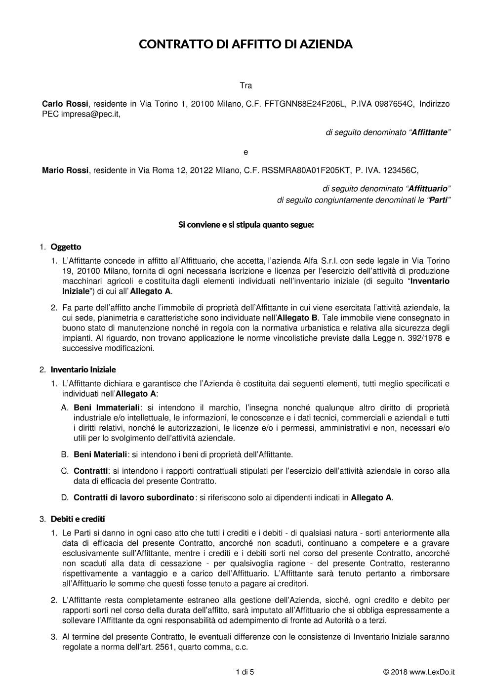 Contratto di Affitto di Azienda o di Ramo d'Azienda modello
