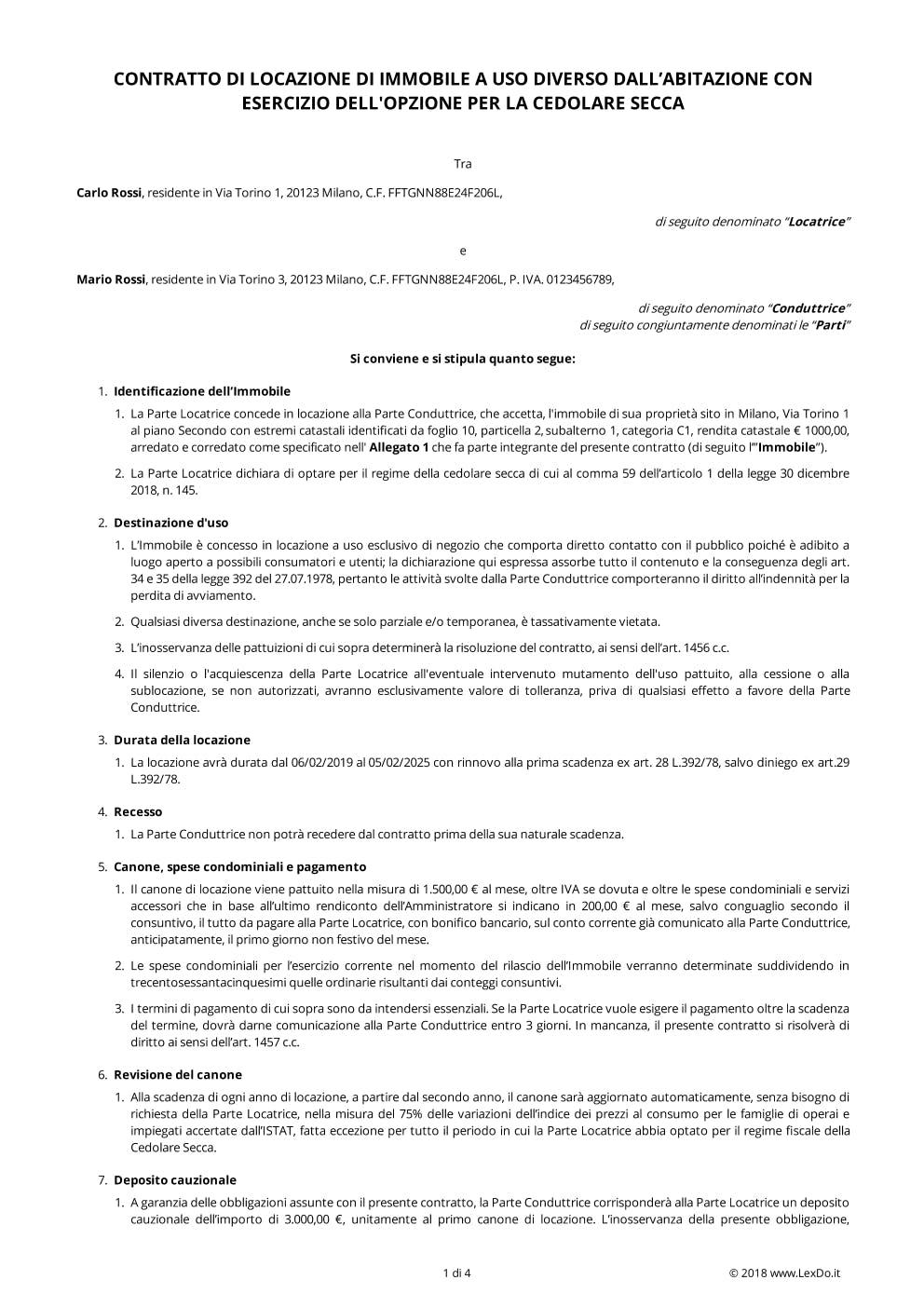Contratto di Locazione Commerciale con Cedolare Secca modello