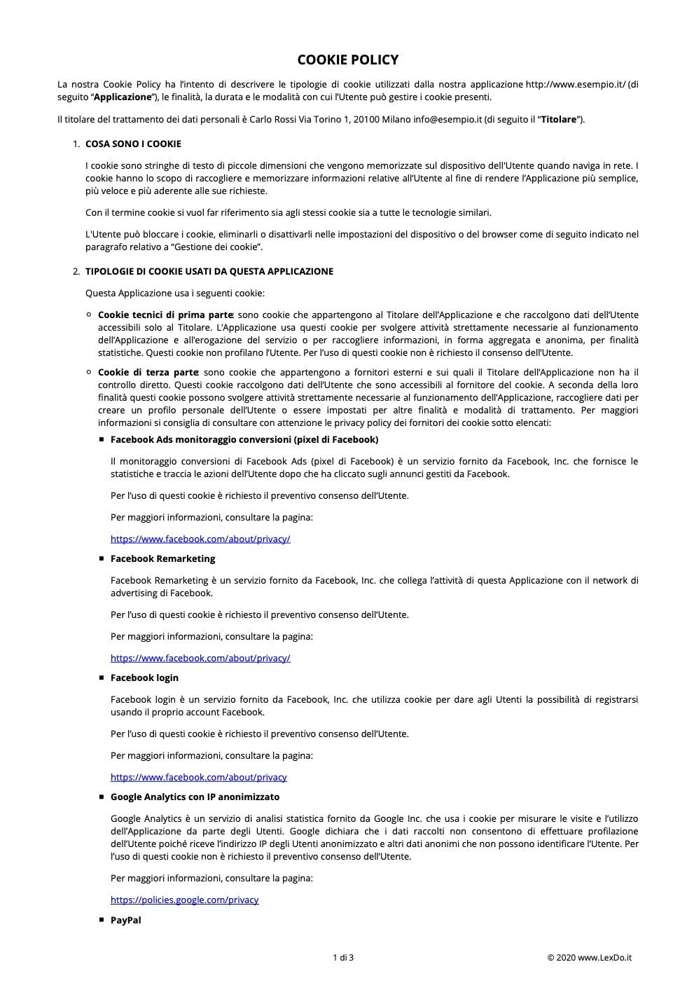 Cookie Policy Sito Web modello