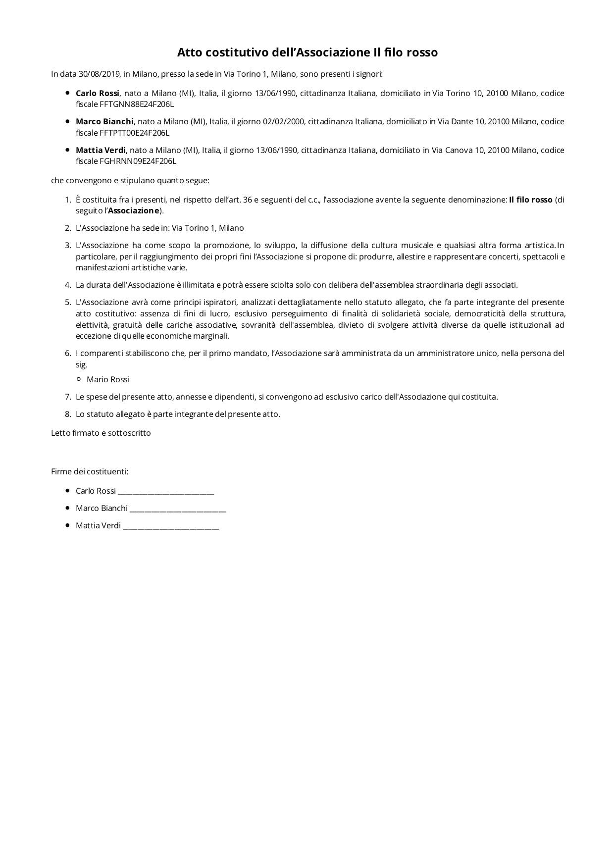 Statuto e Atto Costitutivo Associazione modello