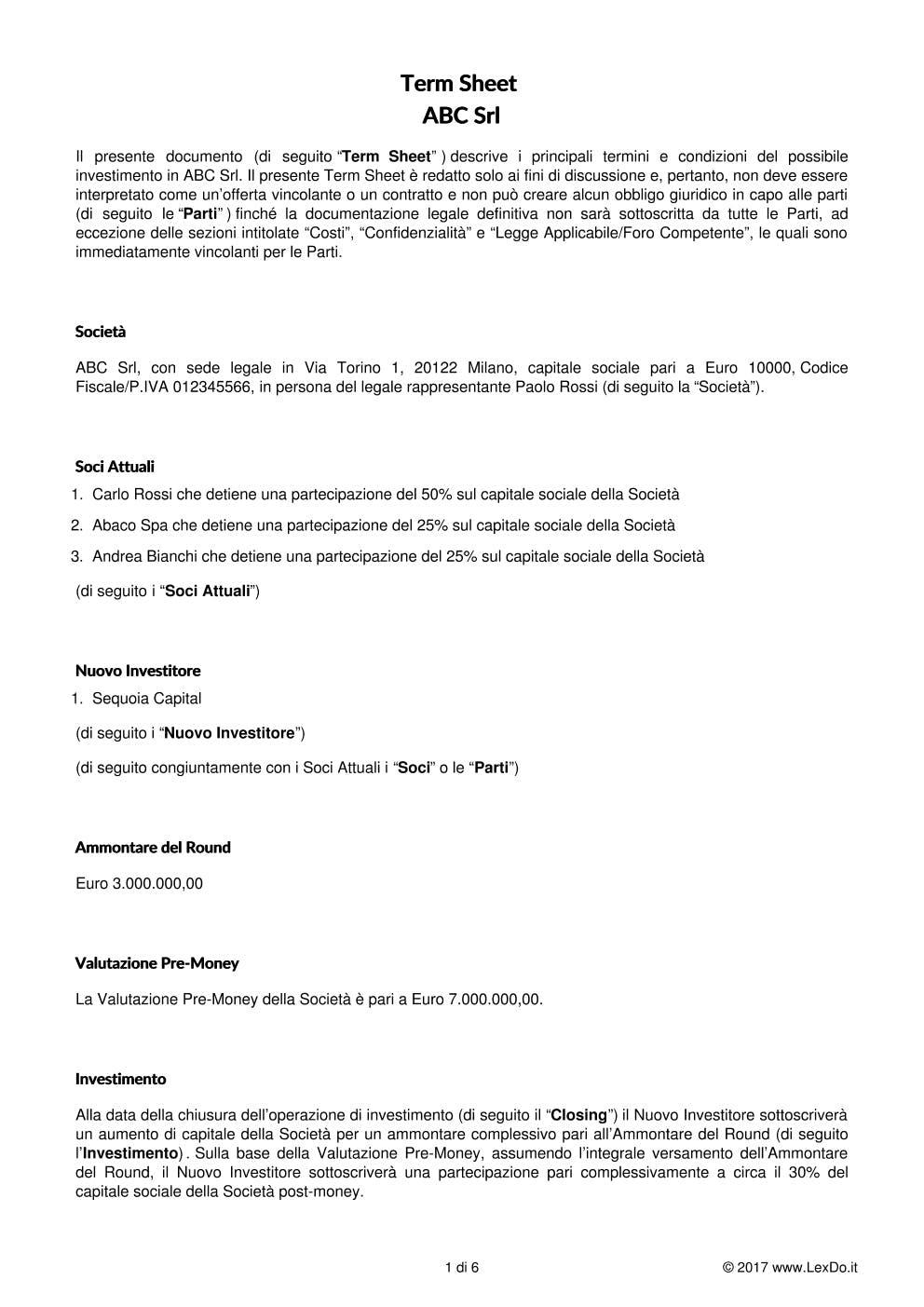 Term Sheet per Contratto di Investimento modello