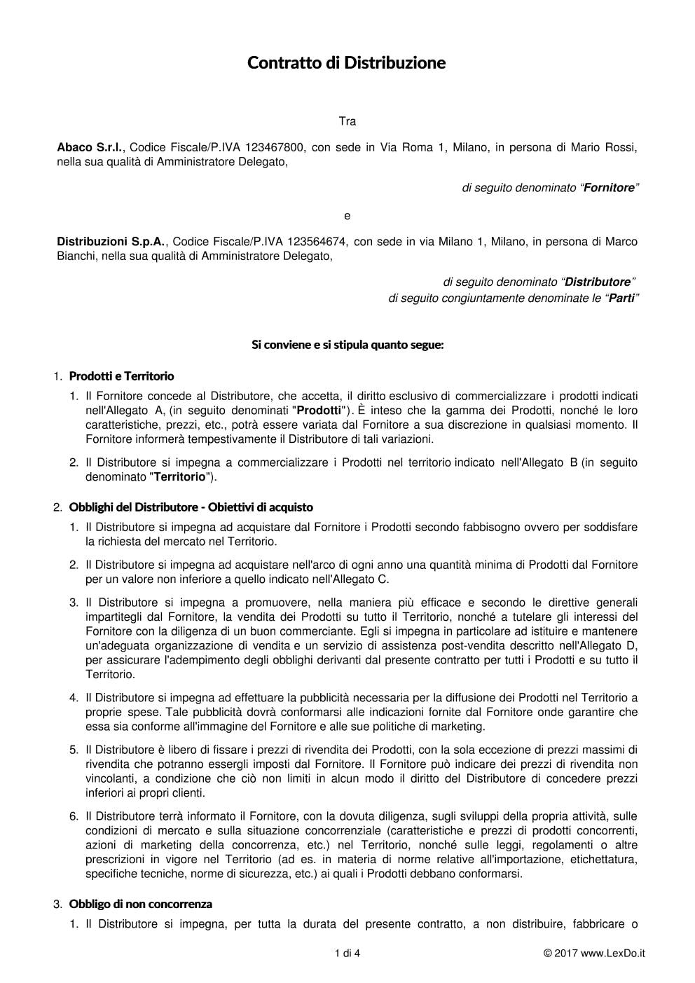 Contratto per Rivenditore Autorizzato modello