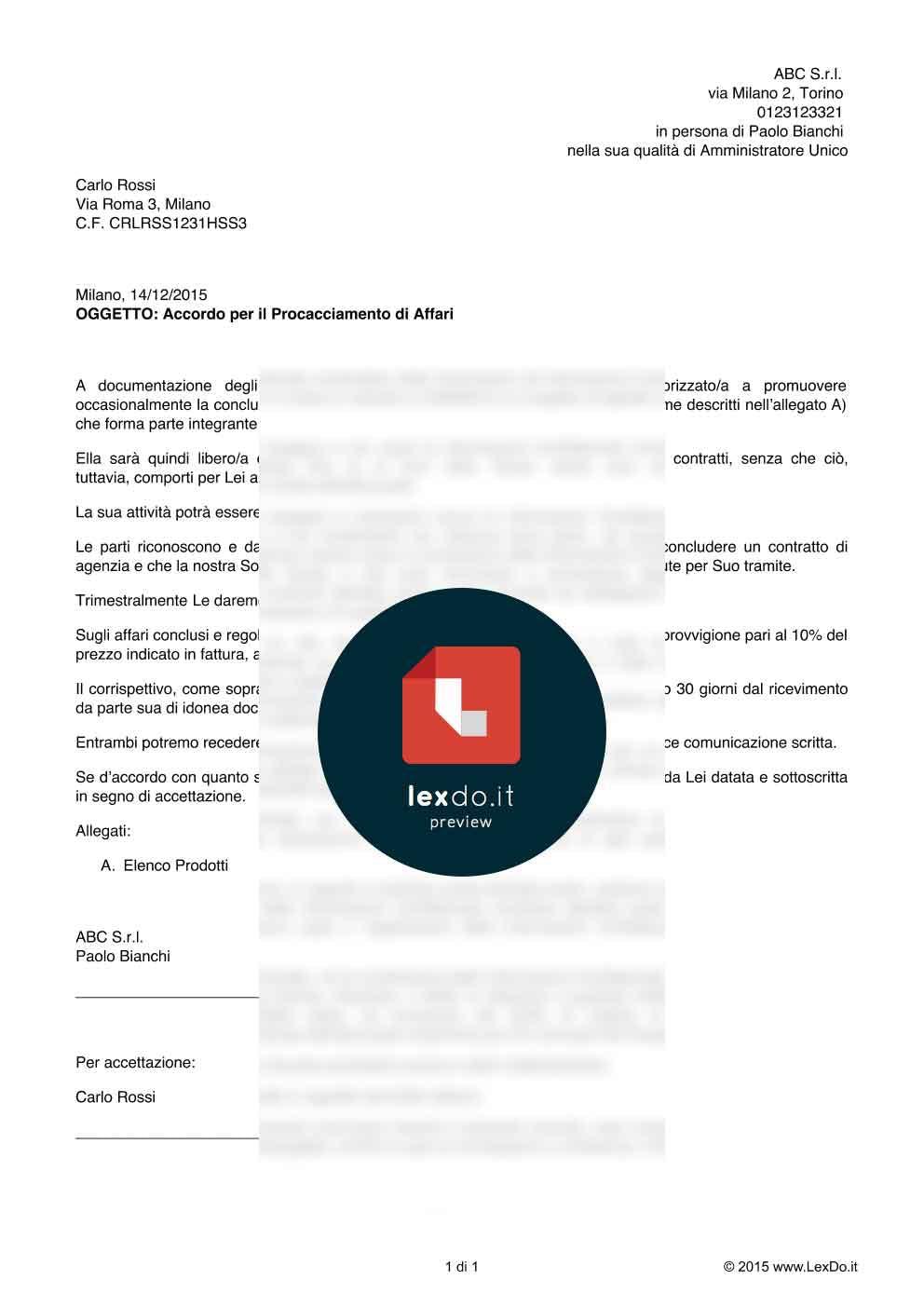 Contratto di Procacciatore d'Affari modello