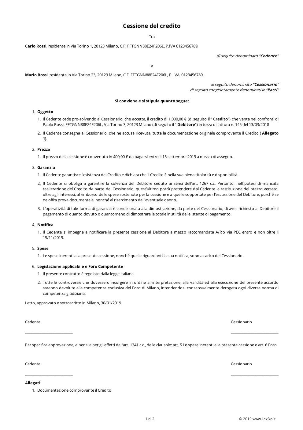 Contratto di Cessione del Credito  modello