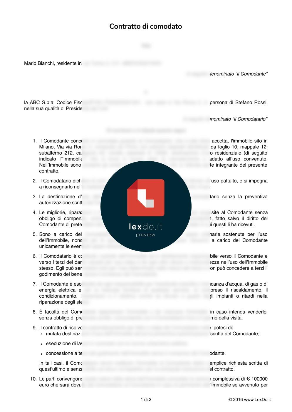 Contratto di Comodato di Bene Mobile modello
