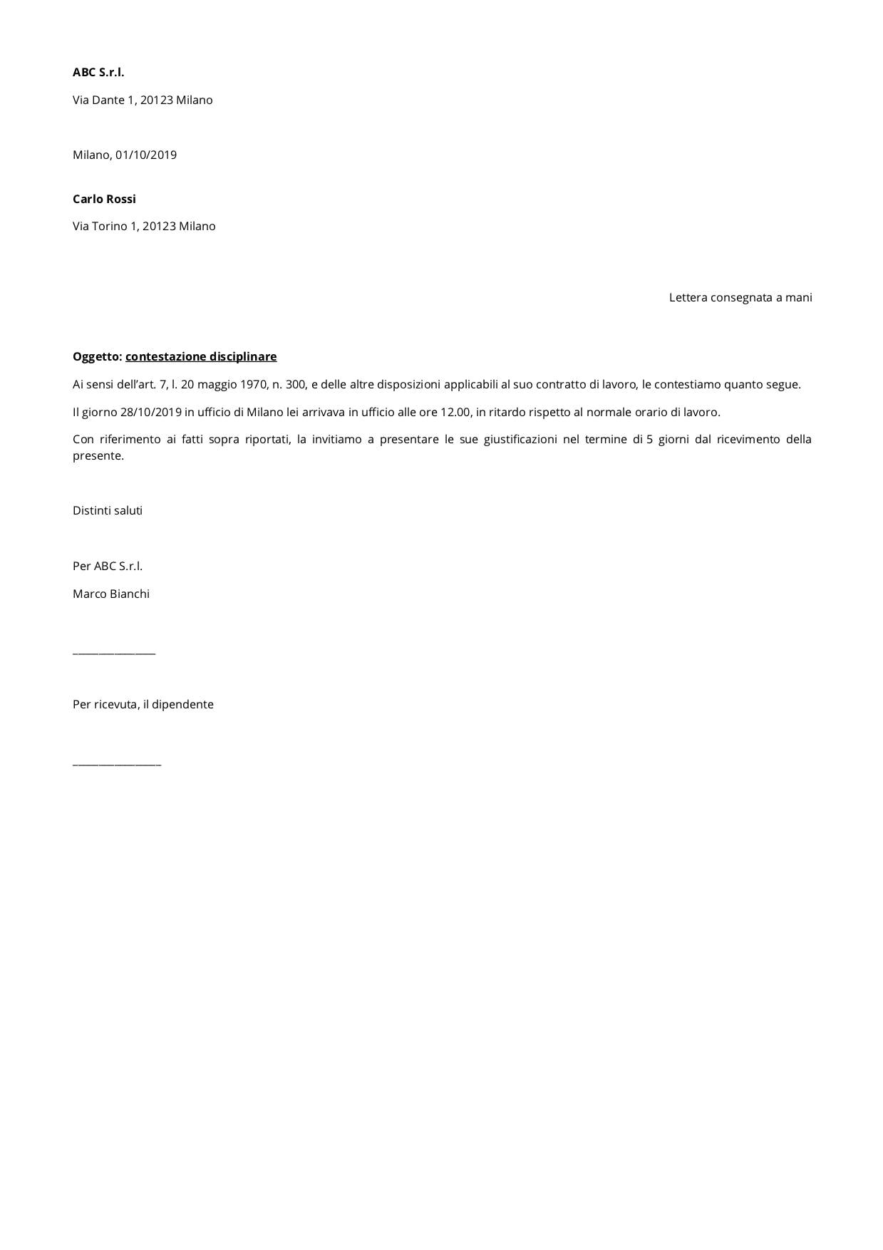 Lettera di Richiamo Disciplinare (Contestazione Disciplinare) modello
