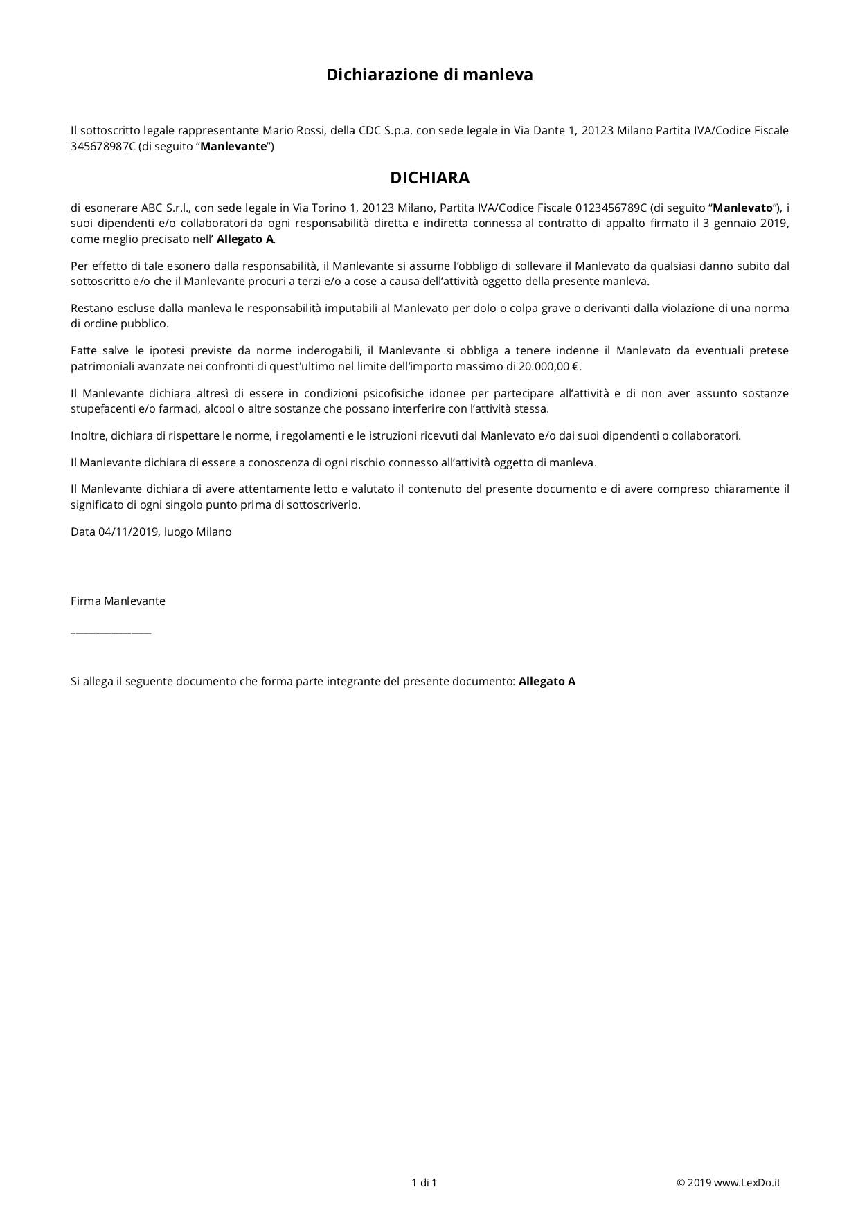 Lettera di Manleva (Scarico di Responsabilità) modello