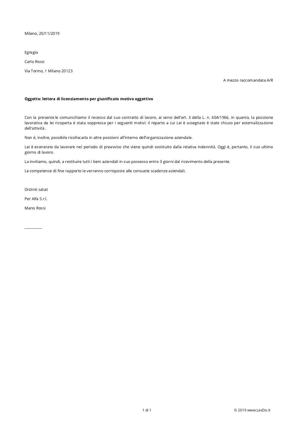 Lettera di Licenziamento per Malattia (Superamento del Periodo di Comporto) modello