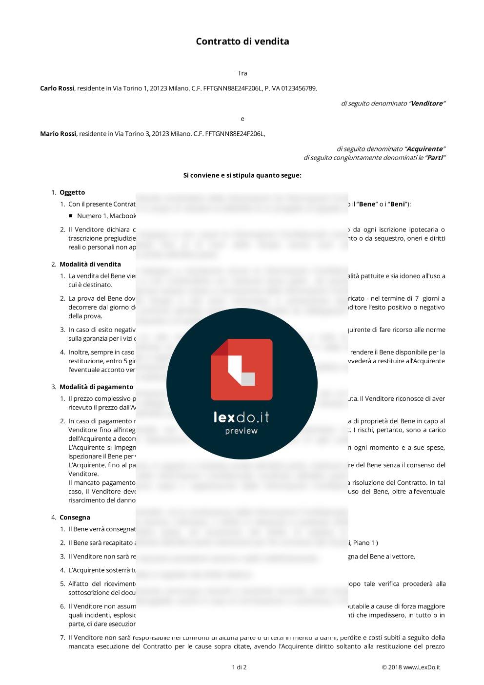 Contratto di Vendita con Riserva di Gradimento modello