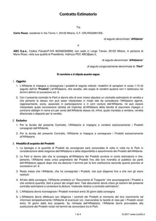 Contratto Estimatorio (Conto Vendita) modello