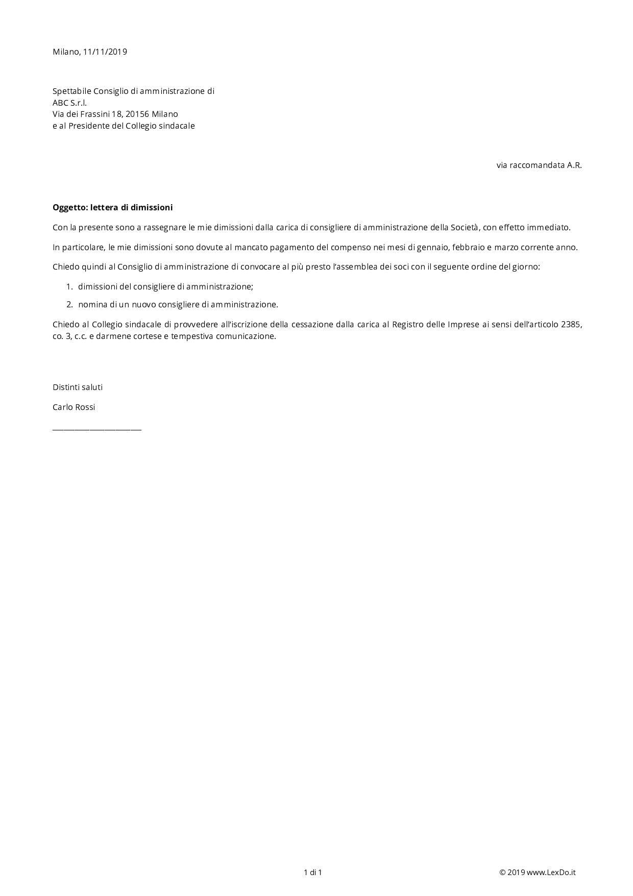 Lettera di Dimissioni di Amministratore Srl o Spa modello