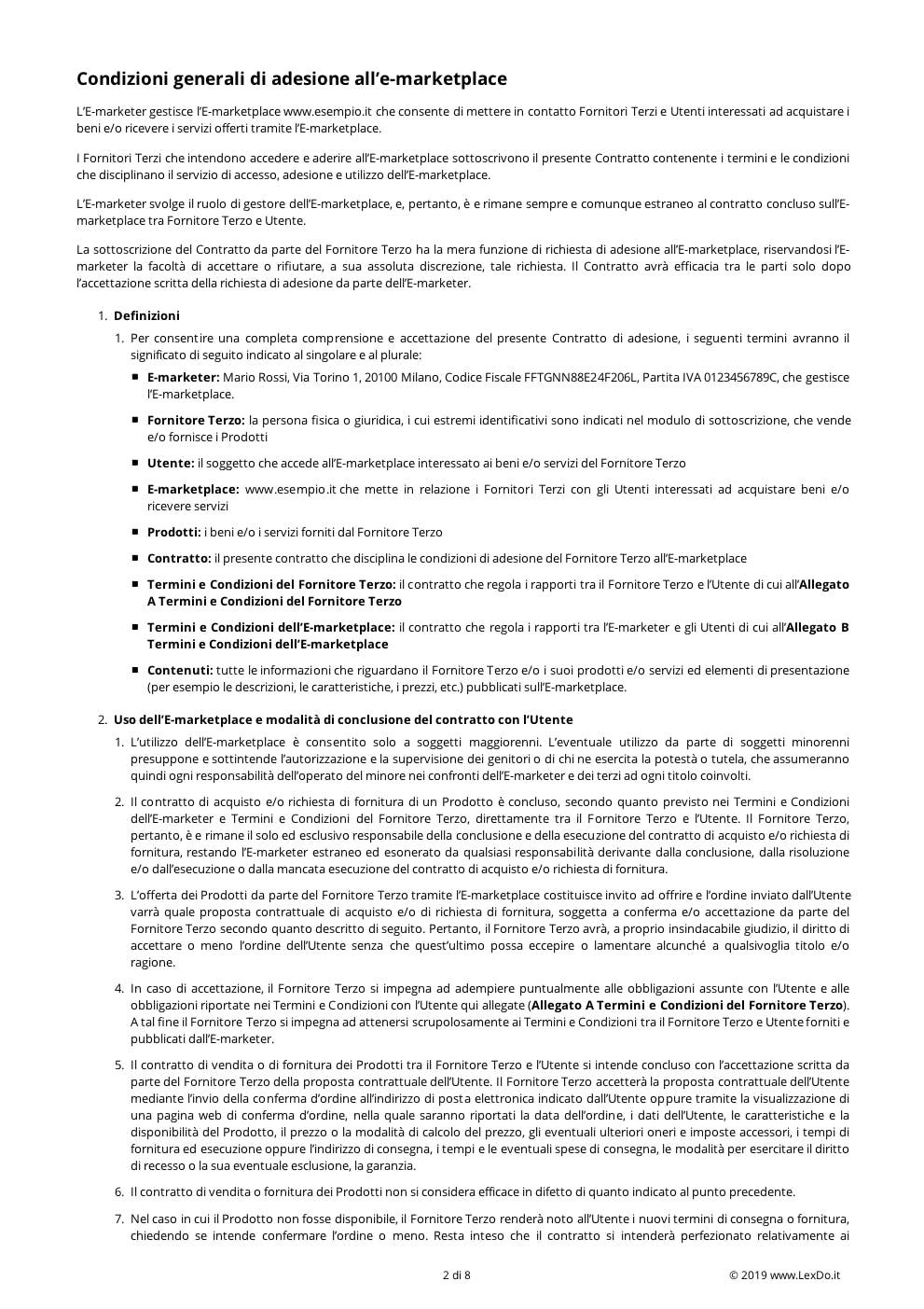 Condizioni di Adesione E-marketplace modello