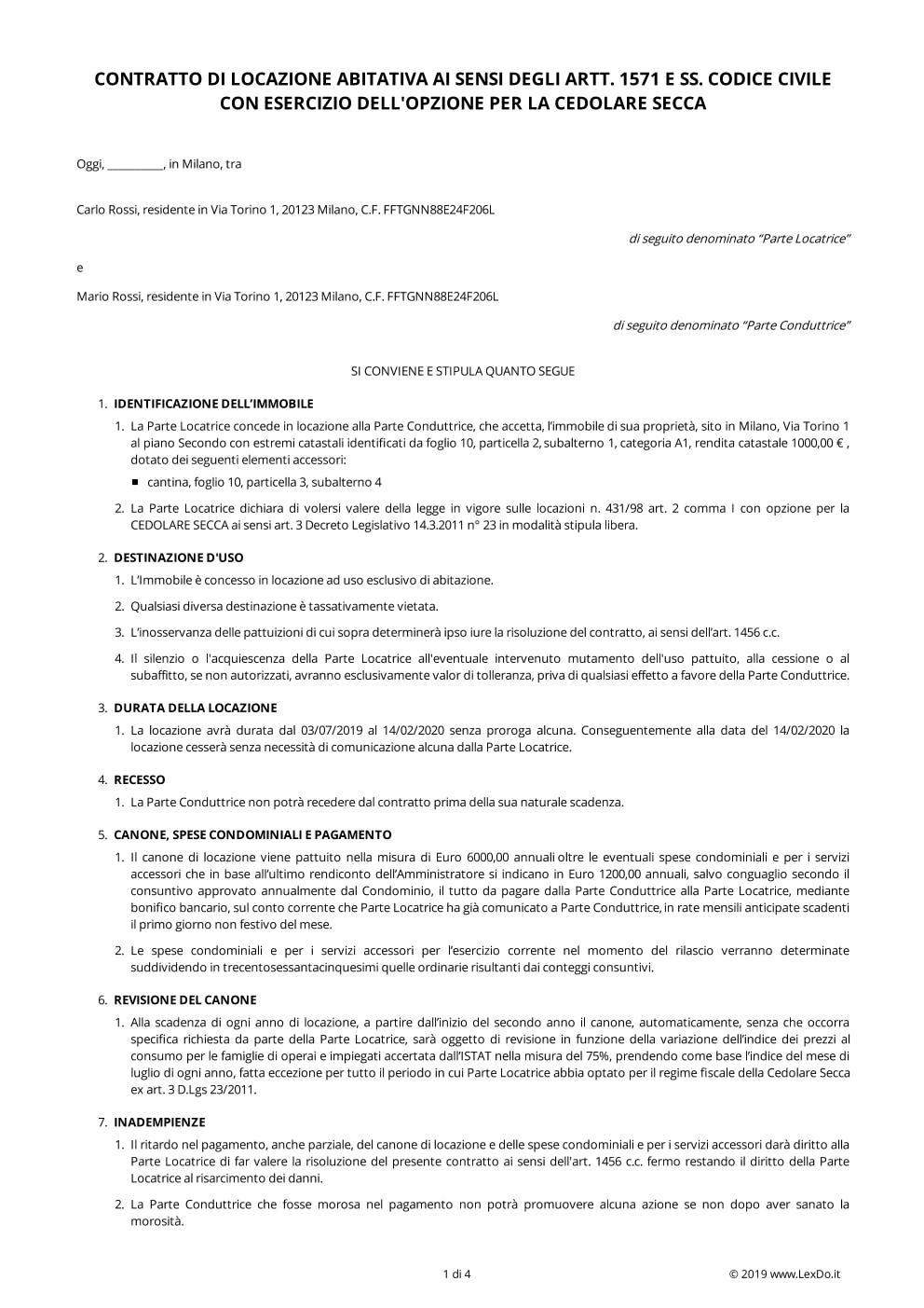 Contratto di Locazione ad Uso Abitativo modello