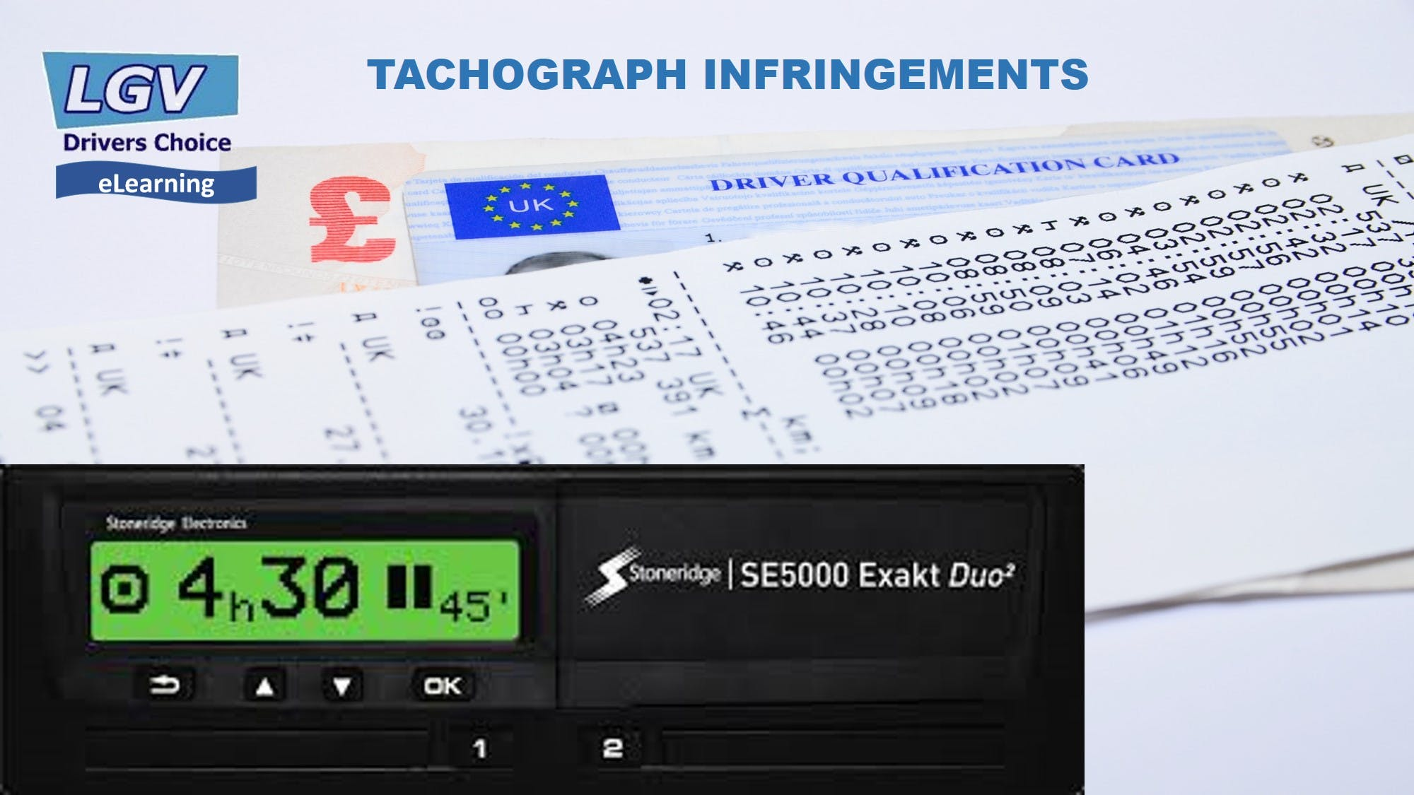 Front of Tachograph and printout of infringements