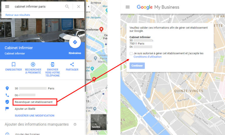 Fiche Google my business sans informations
