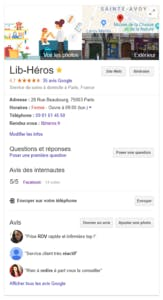 Fiche Google my business libheros