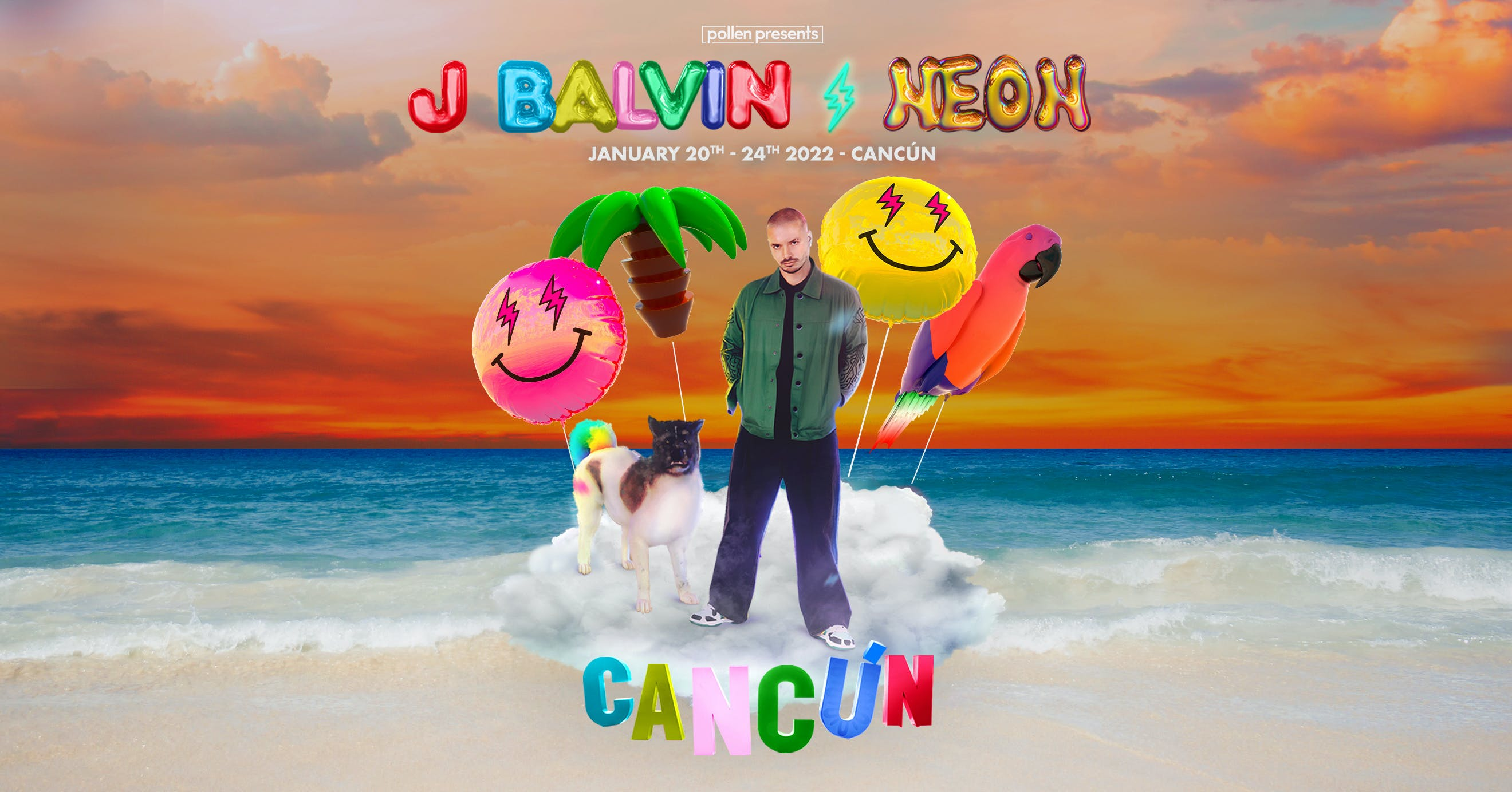 J Balvin Neon Cancún background