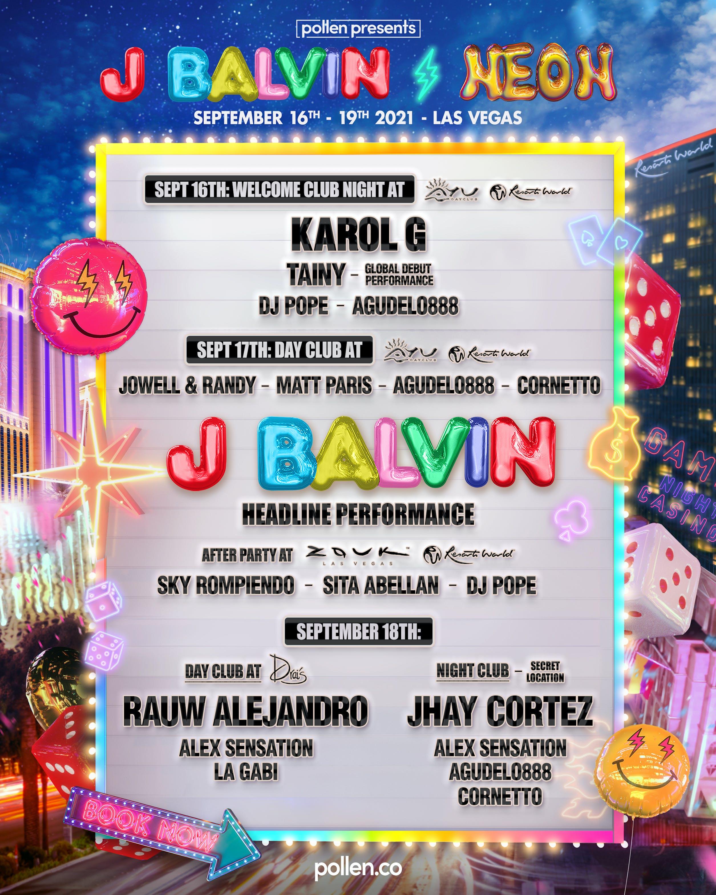 J Balvin Neon Las Vegas 2021 Sold Out Group Travel Trips Events Festivals More Pollen Presents