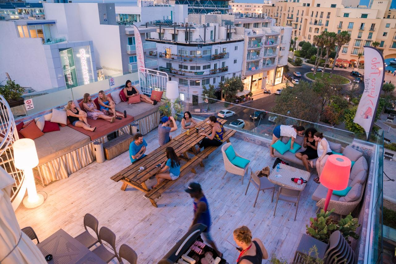 Marco polo party hostel terrace