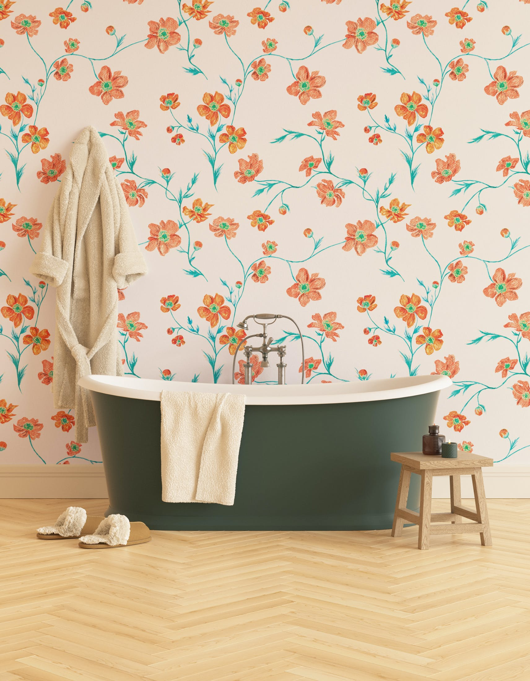 Lick x Jenna Hewitt Anemone 02 orange floral wallpaper