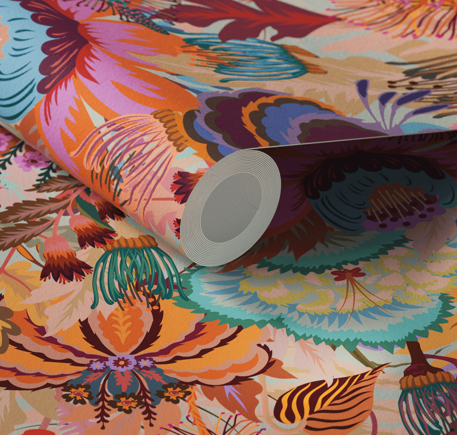 Close up of Lick x Natasha Coverdale Mars Meadow floral wallpaper in orange