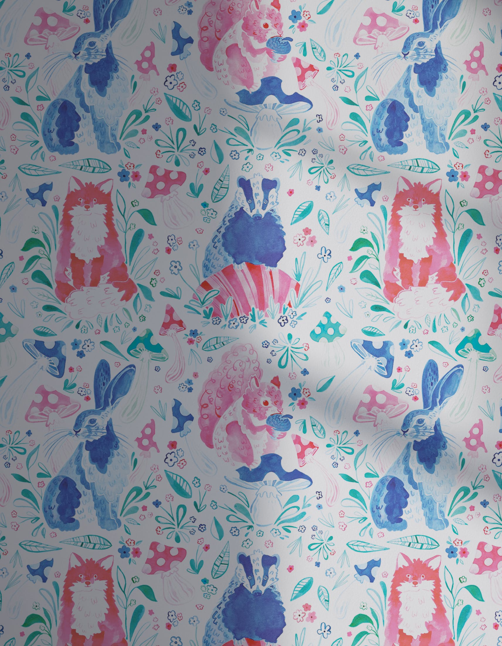 Lick x Franki Barber Woodland Animals 01 pink and blue children's wallpaper with shadow