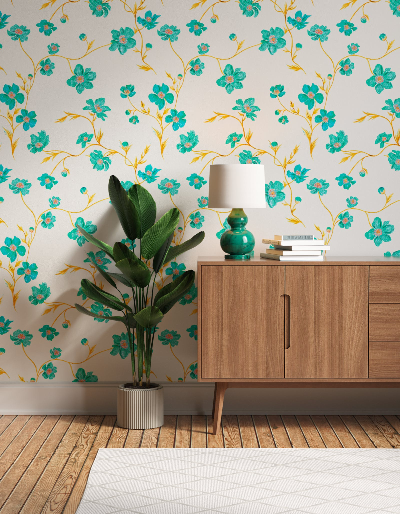 Hallway decorated with Lick x Jenna Hewitt Anemone 01 turquoise floral wallpaper