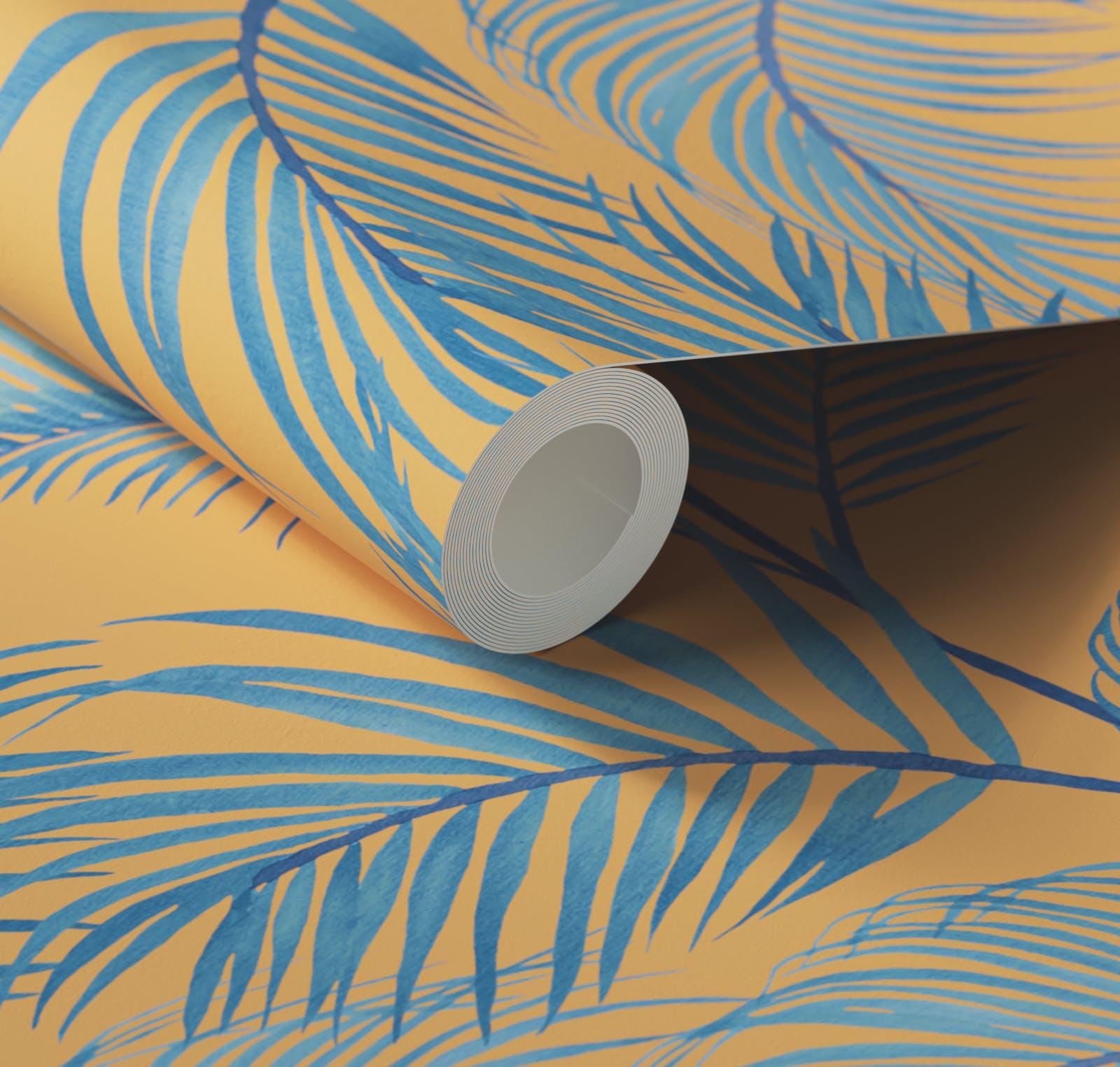 Close up of Lick x Belinda Bayley Jungle 01 orange palm leaf wallpaper