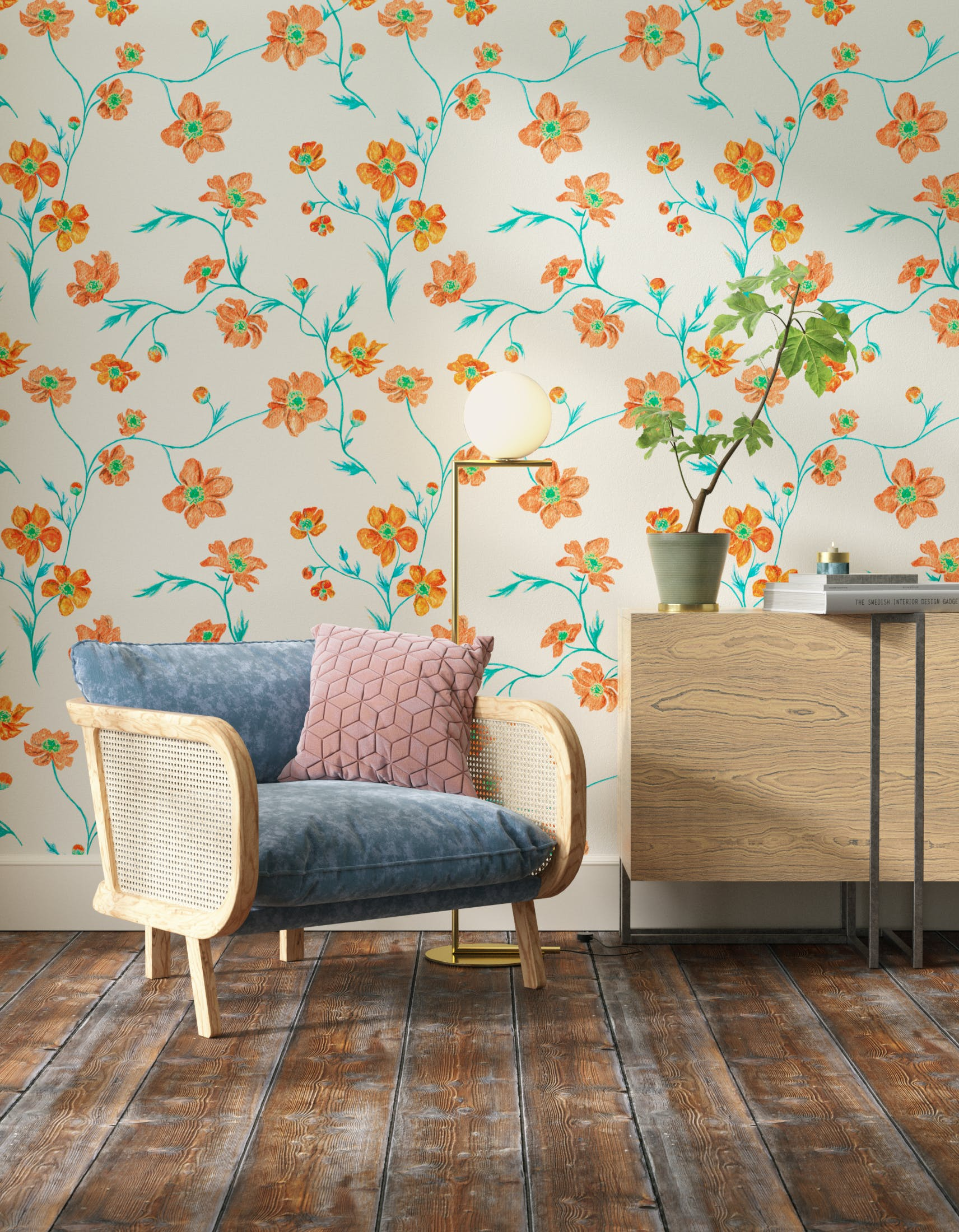 Living room decorated with Lick x Jenna Hewitt Anemone 02 orange floral wallpaper